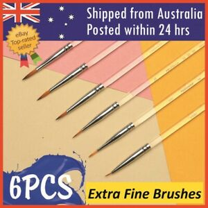 6 Pcs Pro Extra Fine Detail Watercolour Painting Acrylic Miniature Paint Brushes