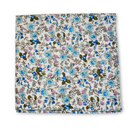 Frederick Thomas ivory and blue floral cotton pocket square handkerchief FT3405