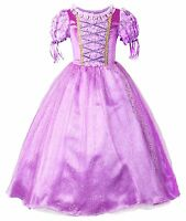 Rapunzel Dress Girls Princess Costume Party Dress Up Cosplay Kids Fancy Dress