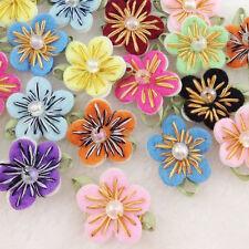 20PC Felt Flower w/Bead Leaf Appliques/Craft -10 colors -(pick color) B167