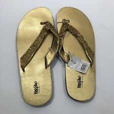 a7c5f79936e4 Mossimo Flip Flops Thongs Gold Beaded Size 9 New Spring Summer Beach