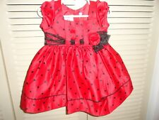 Bonnie Baby baby girls red and black polka dot dress size 18 mo. EC w/dia cover