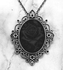 BLACK ROSE CAMEO NECKLACE PENDANT Halloween Costume Jewelry VTG VICTORIAN DESIGN