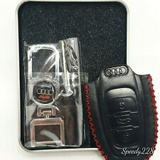 Audi Car Leather Key Remote Cover Fob with 1 Metal Keychain & Screw Driver