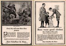 2 1920 - 21 Hart Schaffner Marx Children's Clothing Argonne Battle School Ads