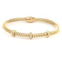 "Rose Gold Plated Sterling Silver Flexible Bracelet, 8"" (NEW 925, 12.0g) #3497"