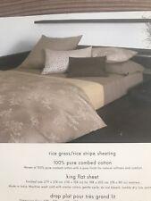 Calvin Klein Cazuci Rice Stripe King Flat Sheet+Two Standard Pillowcases. New!