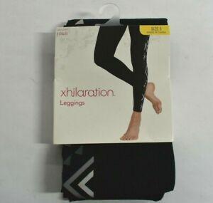 Xhilaration Juniors Black Gray Aztek Geometric Style Print Leggings Small 3-5
