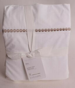 Pottery Barn Pearl Organic Percale Sheet Set, Full, Simply Taupe, embroidered