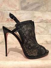 NIB Christian Louboutin Escriminette 120 Black Cage Heel Bootie Pump 36.5 $995