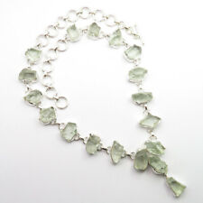 925 Solid Sterling Silver Authentic GREEN AMETHYST Discount Necklace 18.5 Inches