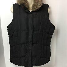 Women's SZ L Athletics works puffer down vest faux fur detachable collar black