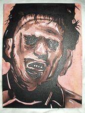 Toile Peinture Texas tronçonneuse Leatherface film marron N&B 16x12 pouces acrylique