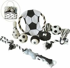 'Soccer Themed' 9 Piece Jute Rope & Rubberized Squeak Chew Pet Dog Toy Gift Set