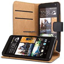 HTC One M7 portafoglio custodia protettiva nero wallet case cover
