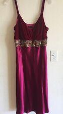 MARIA BIANCA NERO L Red SILK Beaded Sequin Midi Sheath Dress Luxury Nightgown