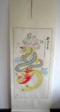 "original chinese hanging handpainted scroll painting""dragon ,phoenix,crane"""