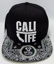 CALI LIFE Snapback Cap Hat California Republic Paisley Flat Bill OSFM Black NWT