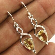 Stylish Morden Fashion Earrings 925 Sterling Silver Jewelry Natural CITRINE Gems