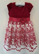 LITTLE GIRL'S BRIDESMAID/PARTY DRESS. DEEP RED &  IVORY.AGE 4YRS. BNWT
