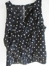 White & Black Polka-Dot T-Shirt Top Size: M