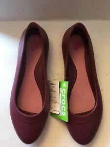 NEW NWT Crocs Lina Flats Iconic Comfort Womens shoes Sz 10 Garnet