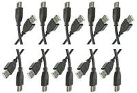CE 10 Pack, 10 Feet USB 2.0 Type A Male to Type A Male Cable, Black, CNE464539