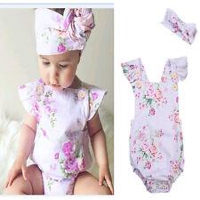 Newborn Infant Baby Girl Floral Romper Bodysuit Summer Holiday Beach Jumpsuit