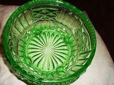 VINTAGE LARGE URANIUM VASELINE GLASS BOWL THICK HEAVY BALL FEET STRONG UV GLOW