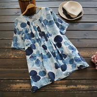 Womens Summer Short Sleeve T Shirt Blouse Ladies Casual Loose Tops Plus Size VP