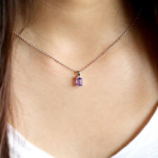 Delicate Emerald Cut Tiny Amethyst Necklace Pendant 925 Silver Free Silver Chain