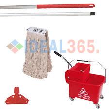 More details for kentucky mop bucket combo set - bucket, wringer, handle, holder & mop head (red)