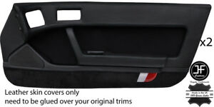 BLACK STITCH 2X FULL DOOR CARD LEATHER & PU SUEDE COVER FOR MAZDA RX7 FC 86-91