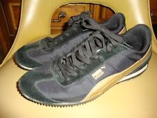 Puma Roma women US Sz 9.5 Black + Gold sneaker tennis shoes casual lace up