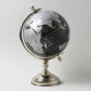 Rotating World Globe Silver and Black Light Up Ornament.