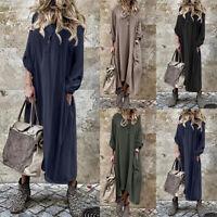 ZANZEA Women Long Sleeve Hooded Long Maxi Shirt Dress Casual Baggy Kaftan Tunic