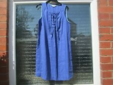 Boden Dress 10R  Denim Blue Lace Up Linen Dress .WW085
