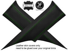 GREEN STITCH 2X REAR C PILLAR REAL LEATHER COVERS FITS FORD MUSTANG COUPE 15-18