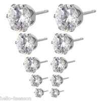 1Set/5pairs Stainless Steel Stud Earrings Dull Silver Tone With Rhinestone