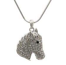 Rhinestone Horse Head Necklace - Perfect for young girls who love horses