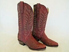 Roper Trudy Triad Snakeskin Boots Handcrafted Burnt Red Burgundy Women Size 7 M