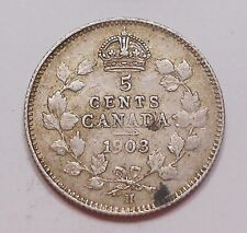 1903H SMALL H Five Cents Silver VF+ HIGH Grade BETTER King Edward VII Canada 5¢