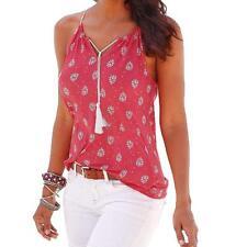 Boho Women Summer Sleeveless Chiffon V Neck Vest Tank Tops Loose Blouse T-shirt