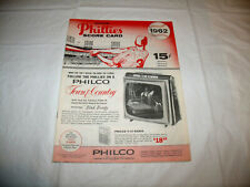 Philadelphia Phillies 1962 Score Card Program vs. Pittsburgh Pirates EXC Beauty