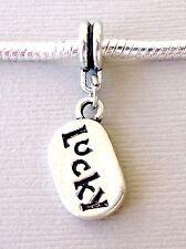 Charm Pendant Dangle tag LUCKY fits European Charm Bracelet/Necklace M4
