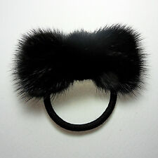 Black High Quality Real Mink fur Round Ribbon hair scrunchie ponytail holder