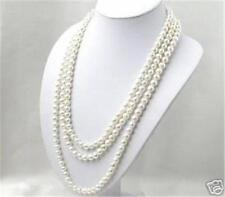 SUPER LONG 80 INCHES 7-8MM WHITE AKOYA CULTURED PEARL NECKLACE