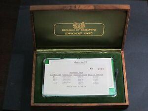 1976 Singapore 6 Proof Coin Set No 2909 Wooden Presentation Deluxe Case Rare!