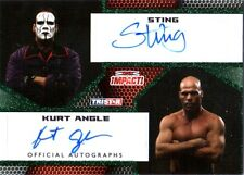 TNA Sting & Kurt Angle 2009 Impact GREEN Dual Authentic Autograph Card SN 4 / 10