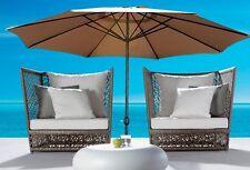 New 10' Patio Outdoor Beach Market Sun Aluminum Umbrella w/ Crank Shade TAN